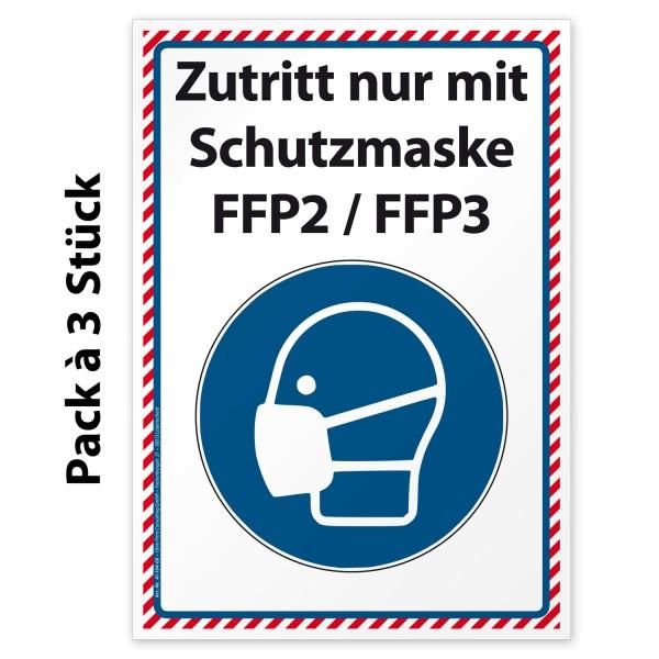 """Corona Aufkleber Hinweis """"Zutritt nur mit Schutzmaske FFP2 / FFP3"""""""