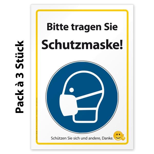 """Corona Aufkleber Hinweis """"Bitte tragen Sie Schutzmaske"""""""