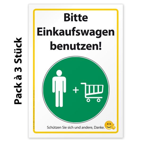"Corona Aufkleber Hinweis ""Bitte Einkaufswagen benutzen"""